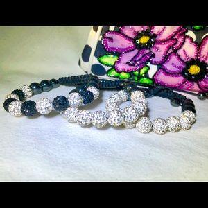 Jewelry - 3 White and black Crystal Bracelets
